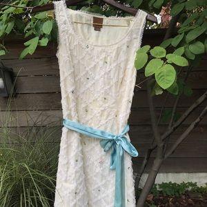 Creme dress with beading and blue silk sash